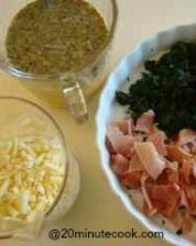 The ingredients ready for the quiche
