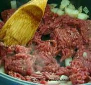 Fry on high heat ground beef and  onions