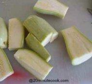 Zucchini cut into rectangular shape