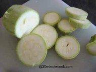 Cut zucchini into rounds