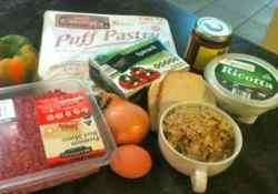 Ingredients for an elegant recipe for ground beef - ground beef wellington