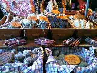 Annecy France Market Stall selling sausages