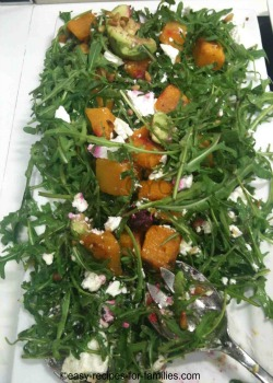 A platter of baked pumpkin apple salad