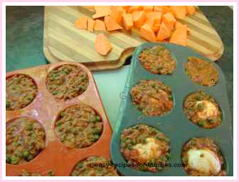 ground beef sauce in the muffin tray