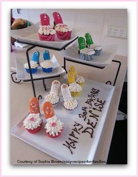 Display of elegant birthday cupcakes