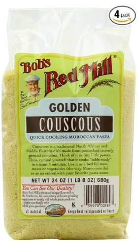 Bob's Red Mill Couscous is golden, kosher, has no trans fats and tastes fresh. It comes in a manageable size, a 24 ounce bag, in a pack of 4.