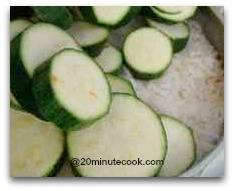 Zucchini steamed ontop of rice