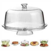 Versatile six in one cake stand made of clear acrylic. 12 inch diameter. Besides a cake stand, it can be used for salads, dips and tid bits, and for trifles. CLICK HERE FOR MORE DETAILS.