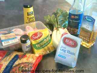 Ingredients for Chicken Noodle Soup Asian Style