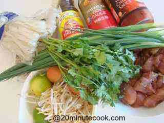 Ingredients for Chicken Pad Thai