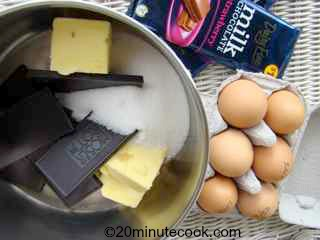 Ingredients for this chocolate dessert recipe