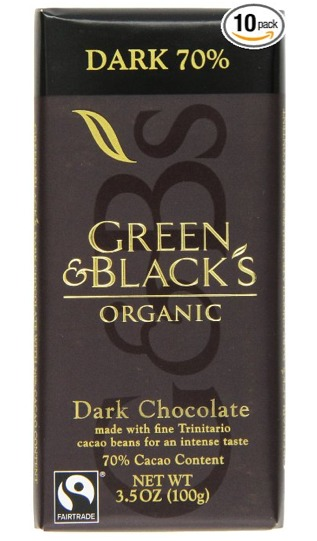 Cooking Chocolate: Green & Black's Organic Dark Cocoa Chocolate. 3.5 ounce bars,  Pack of 10
