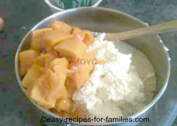Ricotta cheese and pumpkin added to dry ingredients