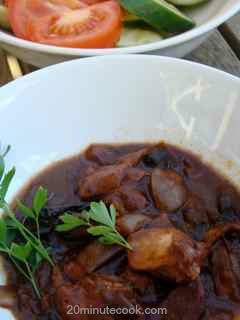 Easy Coq au Vin served with salad