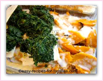 layers in this easy lasagne of pumpkin, spinach and white sauce