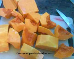 Trim and prepare pumpkin