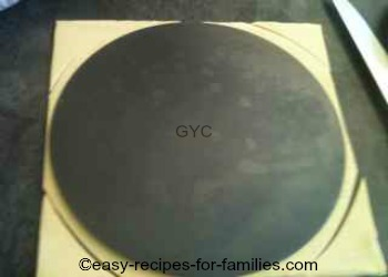 Cut a circle of pastry using the base as a template