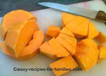 Diced pumpkin for easy pumpkin soup recipe