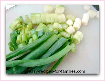 chop spring onions
