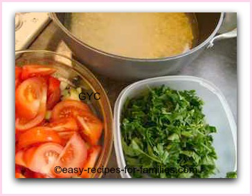 ingredients chopped to make this easy tomato soup