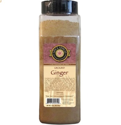 Ginger Spice, a product of Spice Appeal. The ginger is ground and blended and comes in a 16 ounce jar.