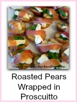 Healthy Appetizer of Roasted Pears Wrapped in Proscuitto