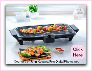 Small BBQ grill to cook kebabs for healthy kids recipes