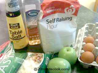 Ingredients for this homemade bread recipe - an apple and cheesy loaf