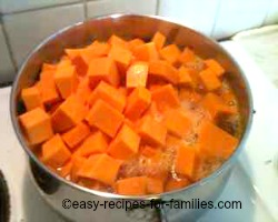 Boil pumpkin chunks in lots of sugared water
