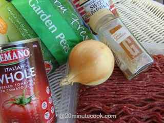 Ingredients for a simple 20 minute ground beef recipe