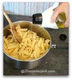 Drizzle oil into the cooked pasta