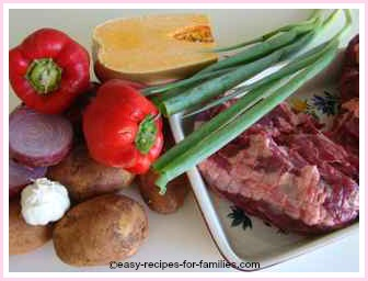 Roast lamb and veg, ingredients