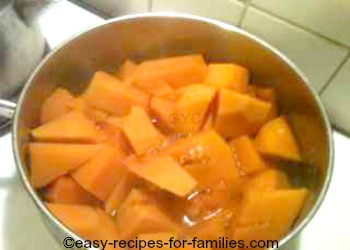 Cooked pumpkin in a saucepan,