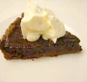This lovely slice of tart topped with cream is from a jamie oliver recipe for chocolate tart