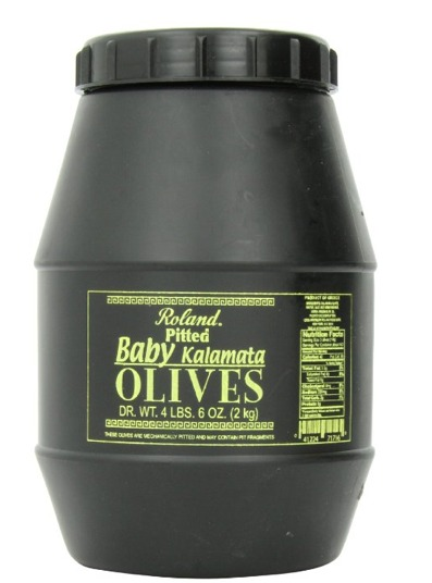 Roland Pitted Baby Kalamata Olives. 4 pounds 6 ounce Jar. Product of Greece