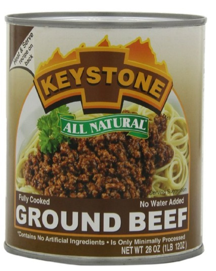 Keystone Ground Beef - Cooked and ready to eat. In a 28 ounce can.