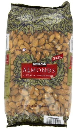 Kirkland Almonds - The Signature brand whole almonds are supreme quality and come in 3 pound bags