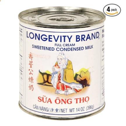 Longevity Condensed Milk 14 0z Sweetened. 4 in a pack