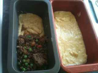 Layer the batter, then meat sauce and top with batter to make Gen's meals with ground beef