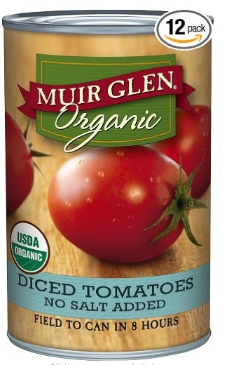 Muir Glen Tomatoes - Organic and Diced in 14.5 ounce cans in a pack of 12