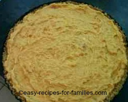 Fill the crumb crust with the pie filling for this no bake pumpkin pie