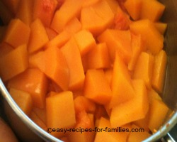 Cook the pumpkin for this pumpkin bar recipe