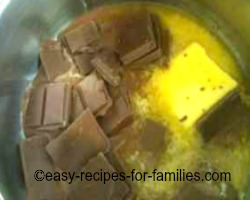 Melt butter and chocolate for the pumpkin dessert