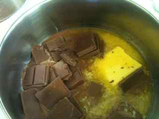 Melt together chocolate and butter