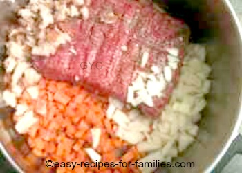 Add vegetables and meat in the saucepan