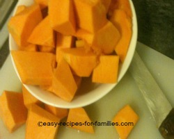 Dice the pumpkin into large chunks