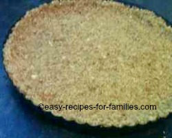 Press the crumbs firmly into the base and sides of the flan pan