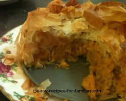 Filo Pumpkin Pie with Marinaded Chicken