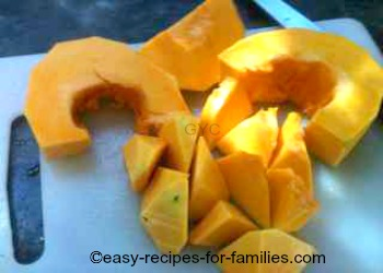 Diced fresh pumpkin for a real pumpkin pie