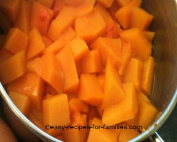 Cooked cubes of pumpkin